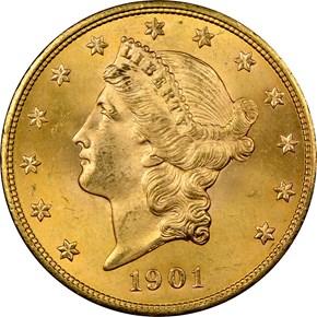 1901 $20 MS obverse