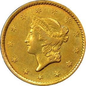 1849 C OPEN WREATH G$1 MS obverse