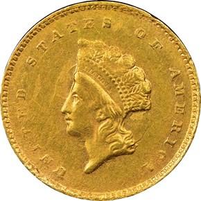 1855 C G$1 MS obverse