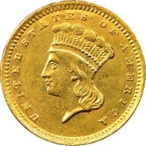 1857 C G$1 MS obverse
