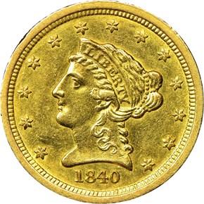 1840 C $2.5 MS obverse
