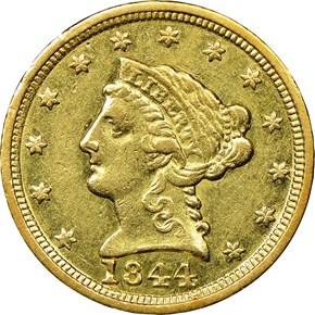 1844 C $2.5 MS obverse