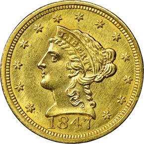 1847 C $2.5 MS obverse