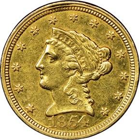 1854 C $2.5 MS obverse