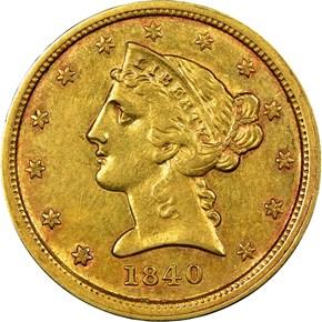 1840 C $5 MS obverse