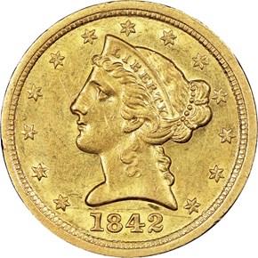 1842 C LARGE DATE $5 MS obverse
