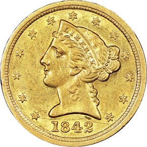1842 C LARGE DATE $5 MS obverse