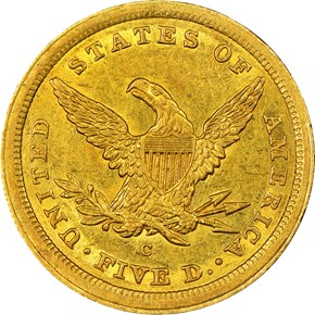 1842 C LARGE DATE $5 MS reverse