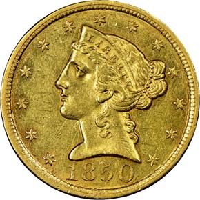 1850 C $5 MS obverse