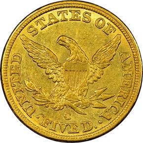 1844 C $5 MS reverse