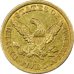 1848 C $5 MS reverse