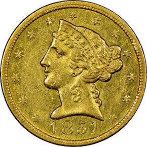1851 C $5 MS obverse