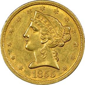 1855 C $5 MS obverse