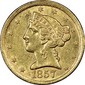 1857 C $5 MS obverse