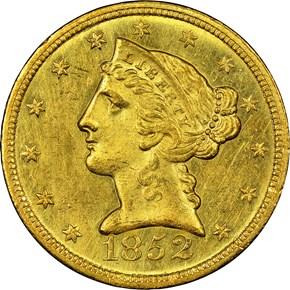 1852 C $5 MS obverse