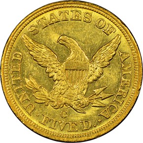 1852 C $5 MS reverse