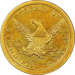 1842 C SMALL DATE $5 MS reverse