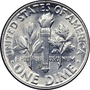 1954 S 10C MS reverse