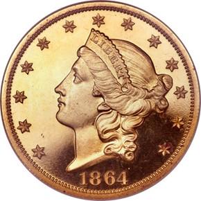 1864 $20 PF obverse
