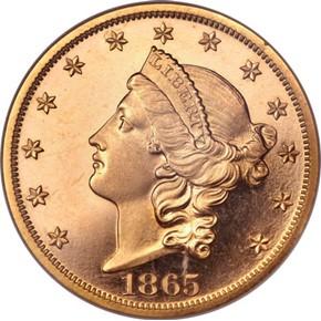 1865 $20 PF obverse