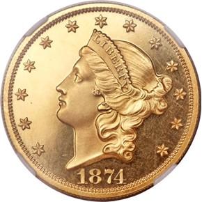 1874 $20 PF obverse