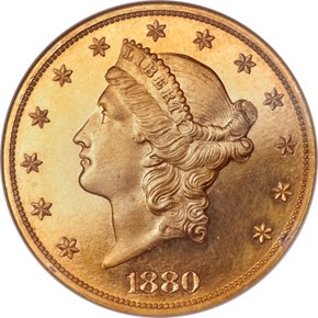 1880 $20 PF obverse