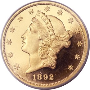 1892 $20 PF obverse