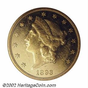 1893 $20 PF obverse