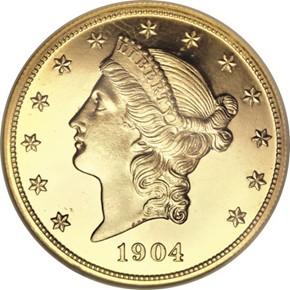 1904 $20 PF obverse