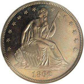 1862 J-293 50C PF obverse