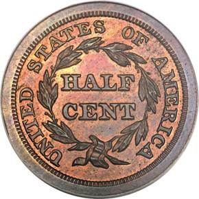 1842 RESTRIKE 1/2C PF reverse