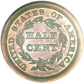 1845 RESTRIKE 1/2C PF reverse