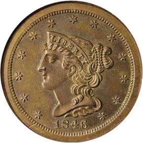 1846 RESTRIKE 1/2C PF obverse