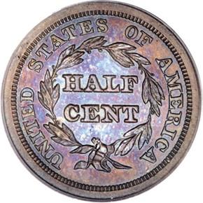 1850 1/2C PF reverse