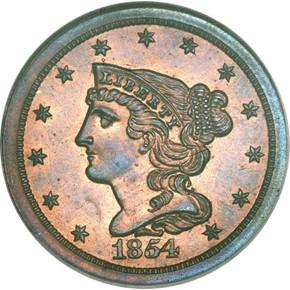 1854 1/2C PF obverse