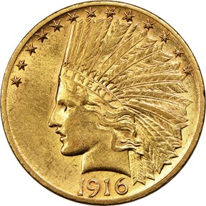 1916 S $10 MS obverse