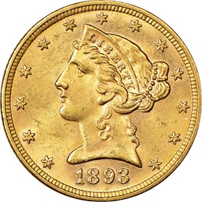 1893 $5 MS obverse
