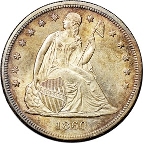 1860 O $1 MS obverse