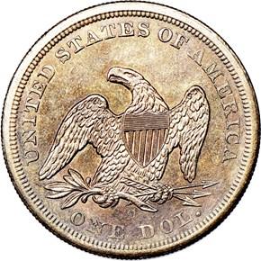 1860 O $1 MS reverse