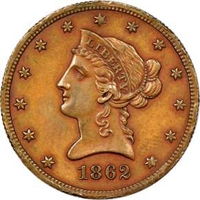 1862 J-297 $10 PF obverse