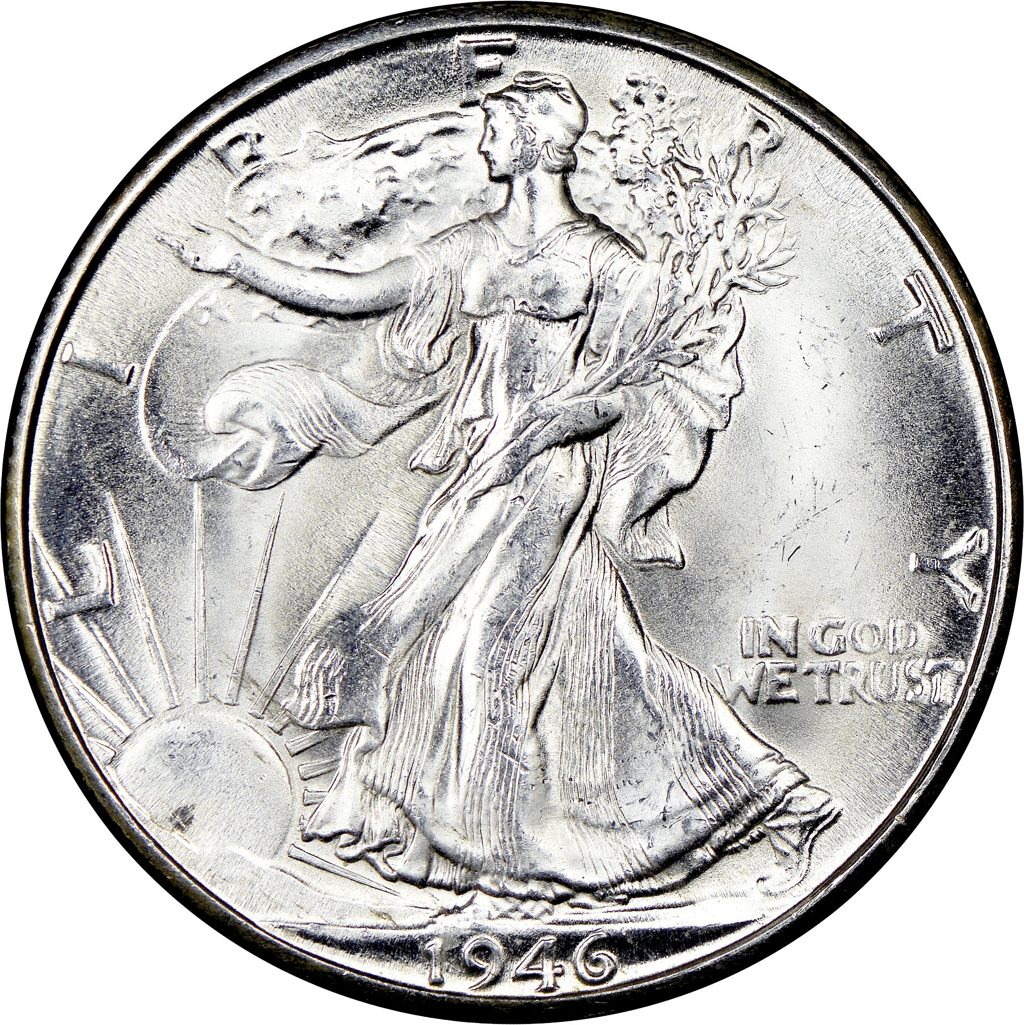 1946 WALKING LIBERTY SILVER HALF DOLLAR IN FINE CONDITION C-19-17