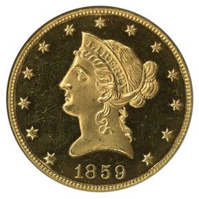 1859 $10 PF obverse