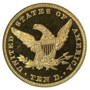 1859 $10 PF reverse
