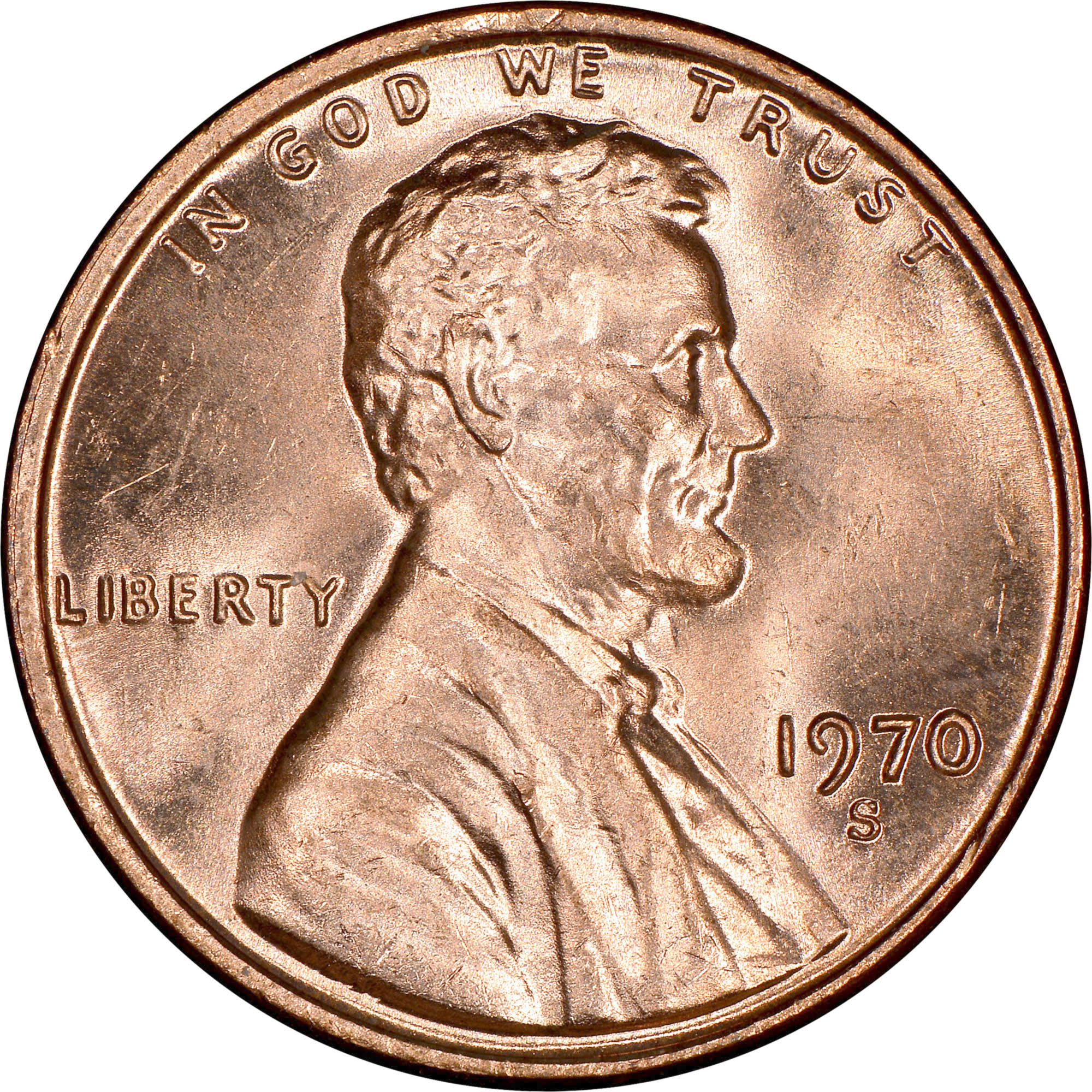 """penny Business Strike highest /""""0/""""  1970-S small date BU Lincoln cent"""