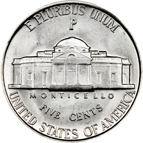 1942 P SILVER 5C MS reverse