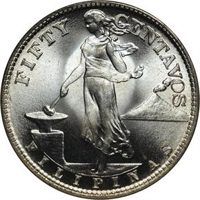 1945 S USA-PHIL 50C MS obverse