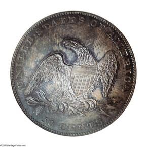 1836 REEDED 50C PF reverse