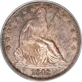 1842 50C MS obverse