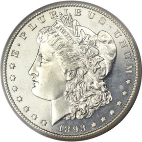 1893 CC $1 PF obverse