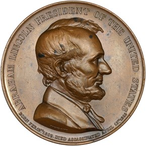 1865-DATED K-230, AE ABRAHAM LINCOLN 61mm MS obverse
